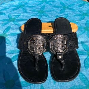Black All Leather Tory Burch Wide Strap Sandals